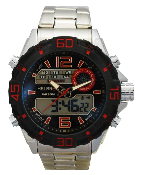 Men's Ana-Digi Chronograph Watch with Stainless Bracelet & Red Accents