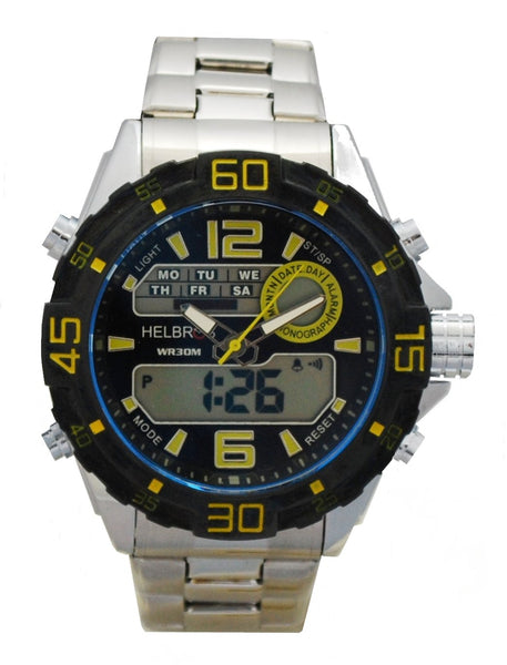 Men's Ana-Digi Chronograph Watch with Stainless Bracelet & Yellow Accents