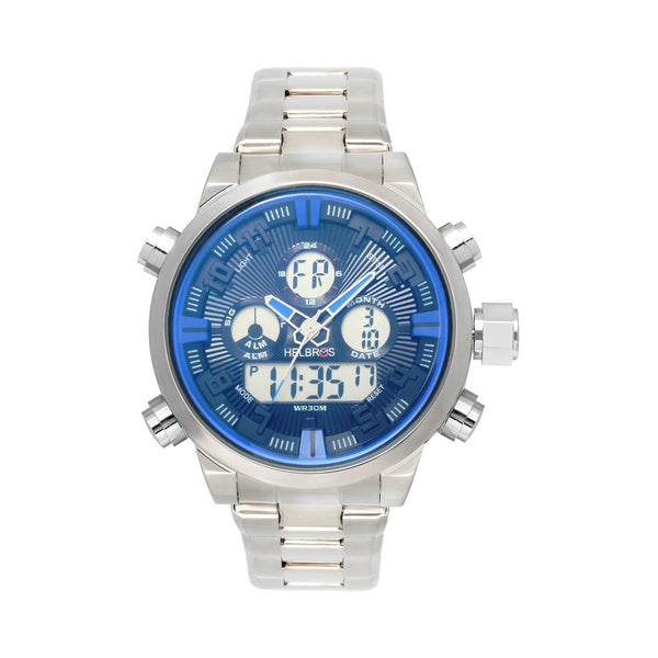 Men's Ana-Digi Chronograph Watch With Stainless Bracelet & Black Dial with Blue Accents