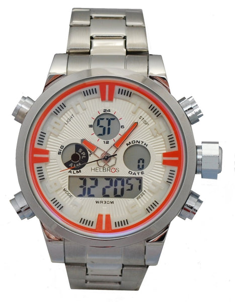 Men's Ana-Digi Chronograph Watch With Stainless Bracelet & Ivory Dial & Orange Accents