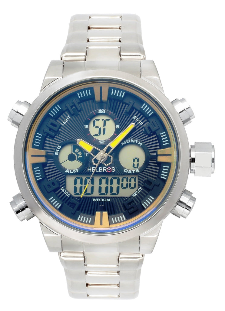 Men's Ana-Digi Chronograph Watch With Stainless Bracelet & Black Dial with Gold Accents