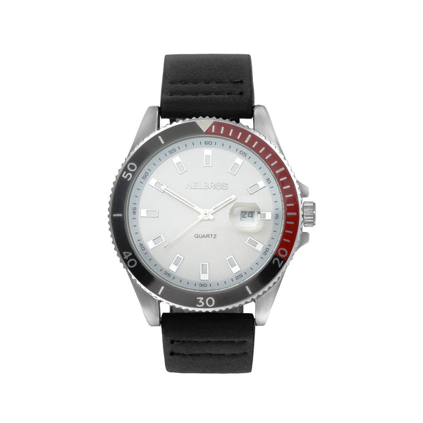 Men's White Dial Quartz Watch with Black & Red Bezel and Magnified Date