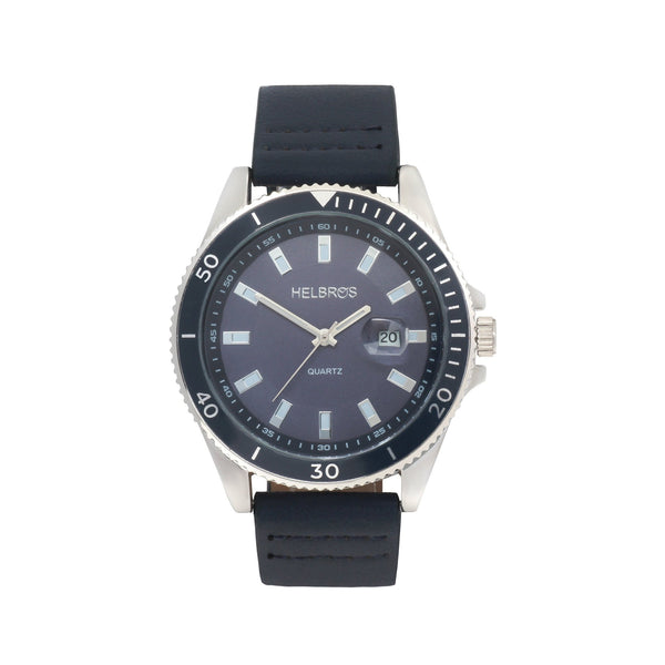 Men's Navy Dial Quartz Watch with Navy Bezel and Magnified Date