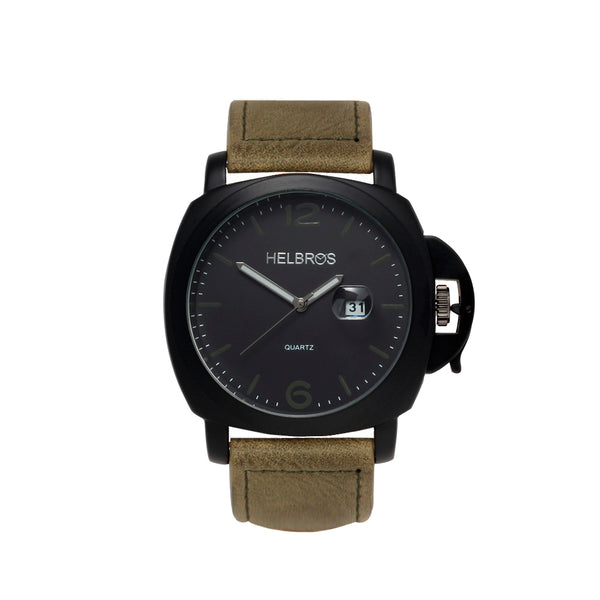 Men's Quartz Watch wth IP Black Case with Black Dial and Olive Strap