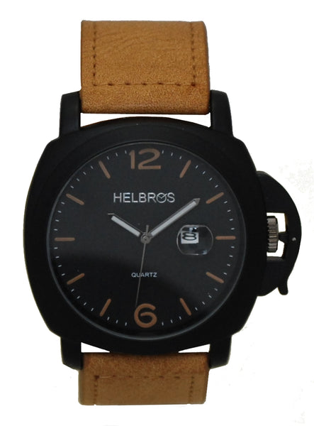 Men's Quartz Watch with IP Black Case with Black Dial and Tan Strap