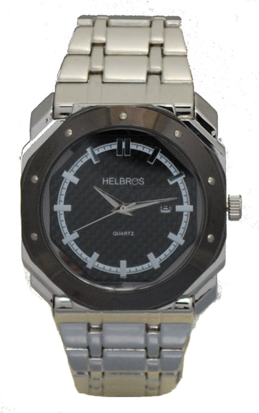 Men's Silvertone Octagonal Case Watch with Black Carbon Fiber Dial & Black Bezel