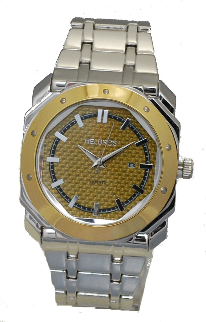 Men's Silvertone Octagonal Case Watch with Gold Carbon Fiber Dial & Goldtone Bezel