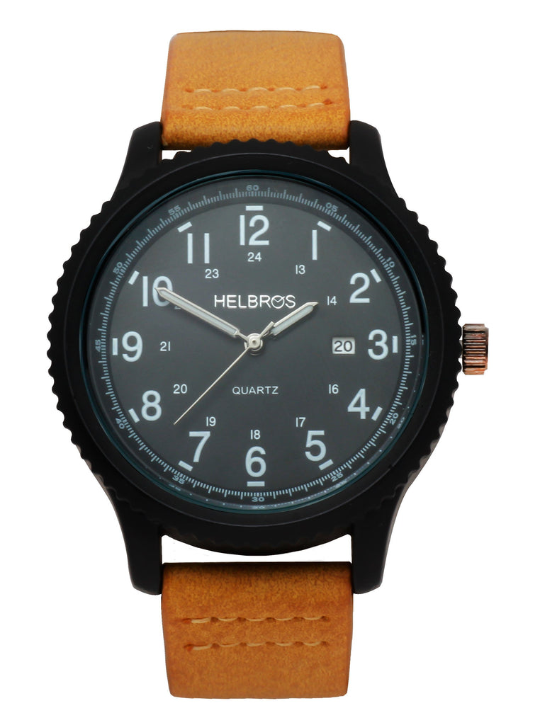 Men's Quartz Watch with IP Black Case and Black Dial with Ginger Strap
