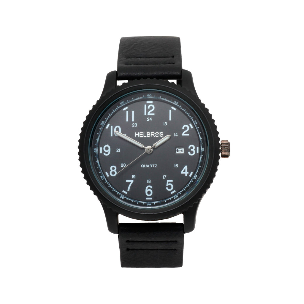 Men's Quartz Watch with IP Black Case and Black Dial with Black Strap - CROTON GROUP