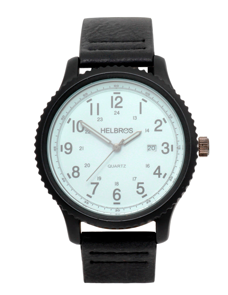 Men's Quartz Watch with IP Black Case with white Dial and Black Strap