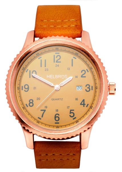 Men's n Quartz Watch with Rosetone Case and Ginger Dial and Ginger Strap