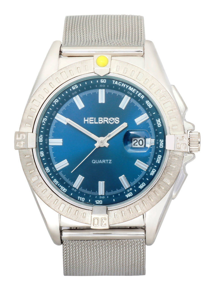 Men's Metallic Blue Dial Quartz Watch with Stainless Steel Mesh Bracelet & Magnified Date