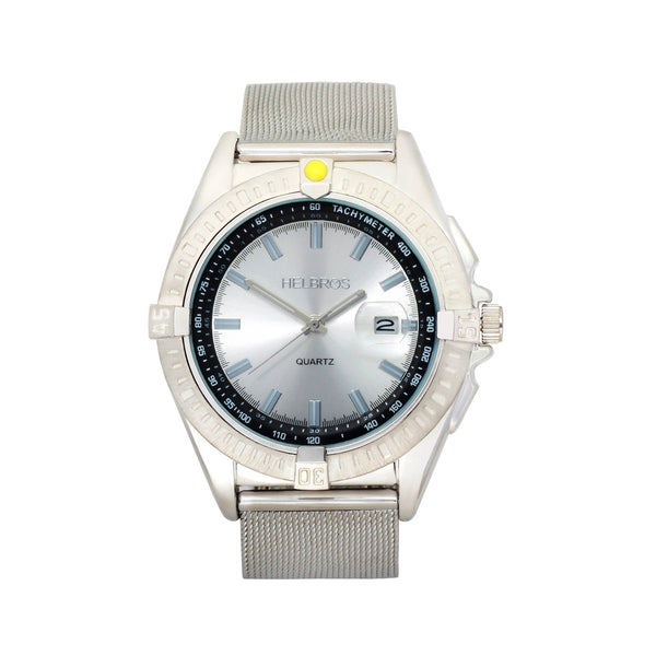 Men's Metallic Silvert Dial Quartz Watch with Stainless Steel Mesh Bracelet & Magnified Date