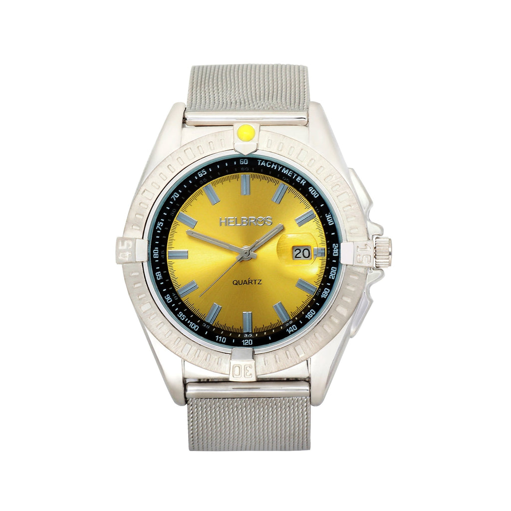 Men's Metallic Gold Dial Quartz Watch with Stainless Steel Mesh Bracelet & Magnified Date