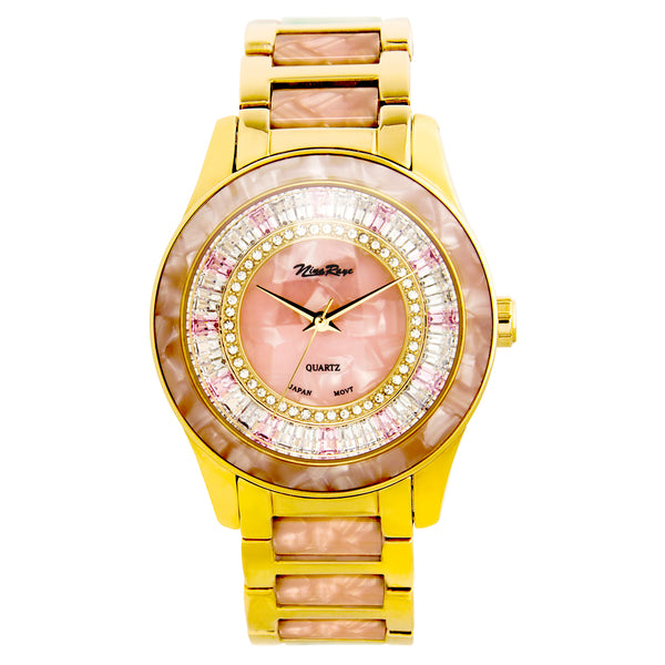 Ladies Goldtone Watch with Crystal & Pink Acrylic Dial, Bezel, & Coordinating Link Bracelet