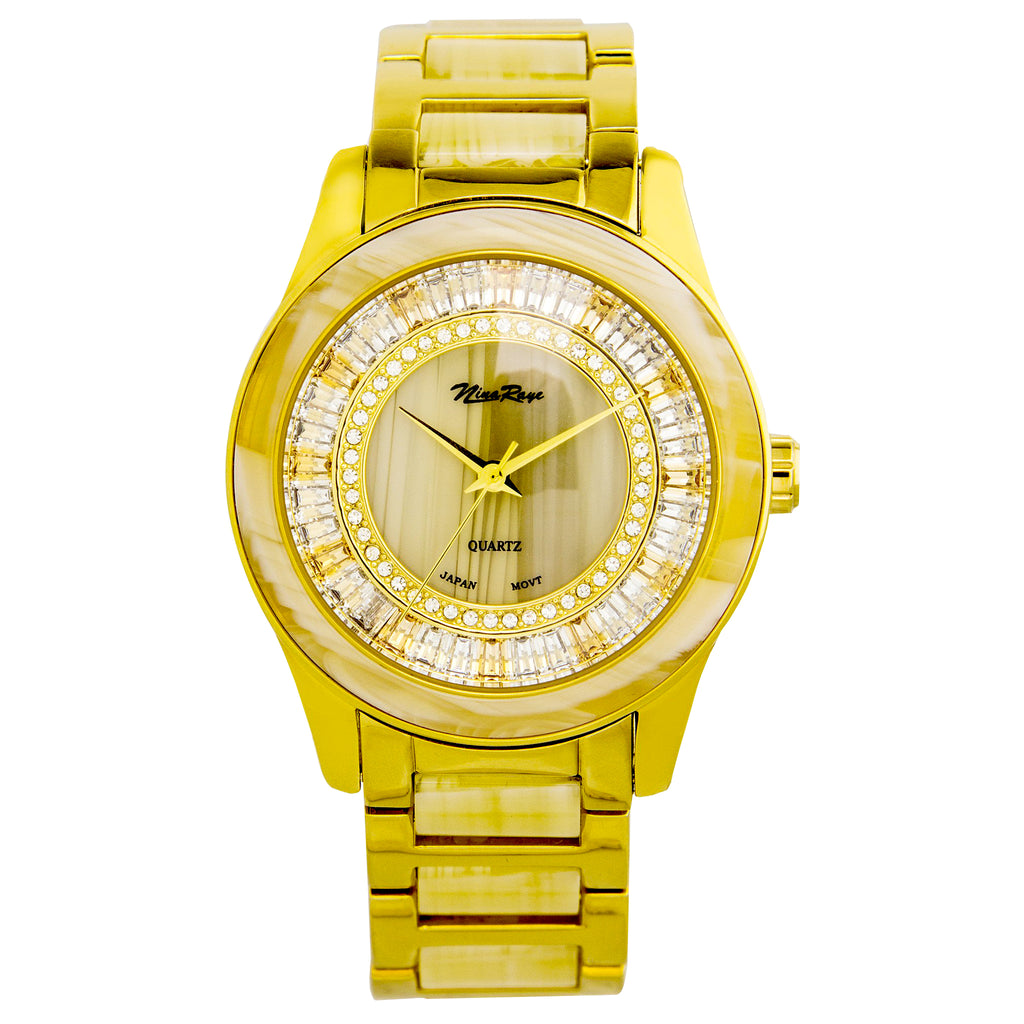 Ladies Goldtone Watch with Crystal & Beige Acrylic Dial, Bezel, & Coordinating Link Bracelet