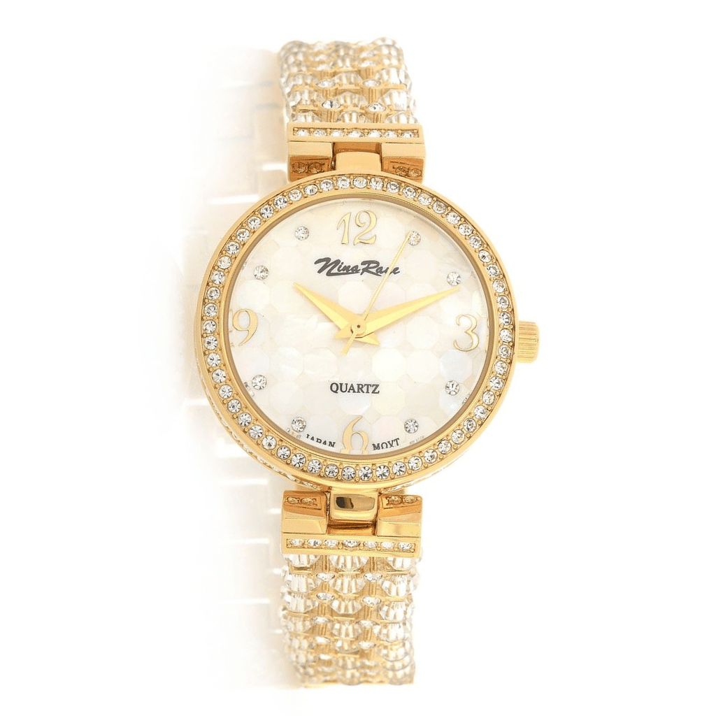 Ladies Goldtone Beaded Bracelet Watch with Mother of Pearl Dial