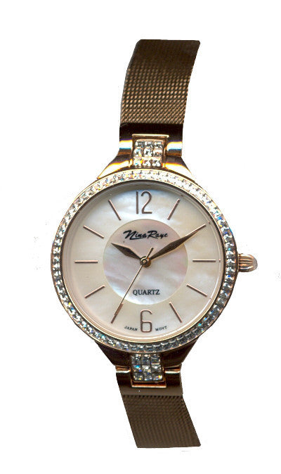 Ladies Rosetone Mesh Bracelet Watch with Mother of Pearl Dial