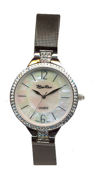 Ladies Silvertone Mesh Bracelet Watch with Mother of Pearl Dial
