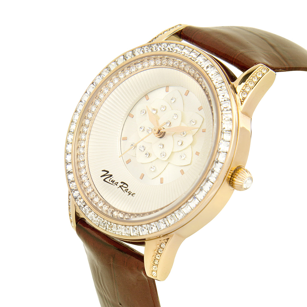 Ladies Rosetone Quartz Watch with Mother of Pearl Flower Dial & Dark Brown Strap