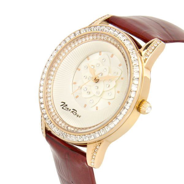 Ladies Rosetone Quartz Watch with Mother of Pearl Flower Dial & Maroon Strap