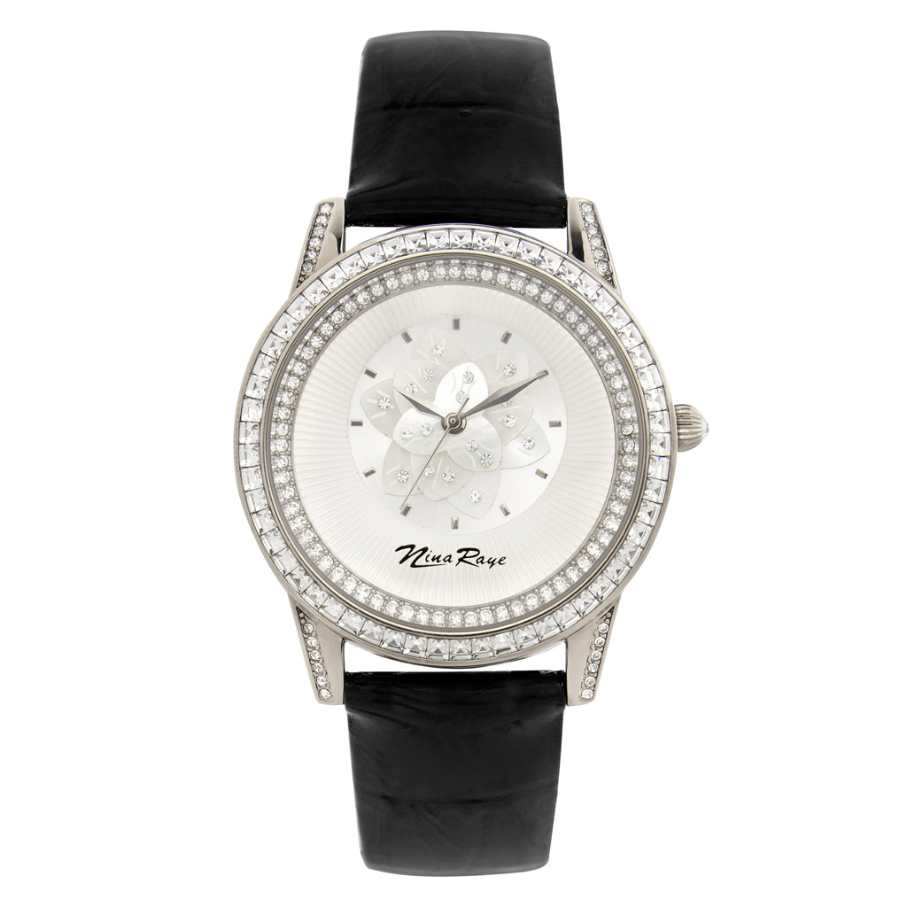 Ladies Silvertone Quartz Watch with Mother of Pearl Flower Dial & Black Strap