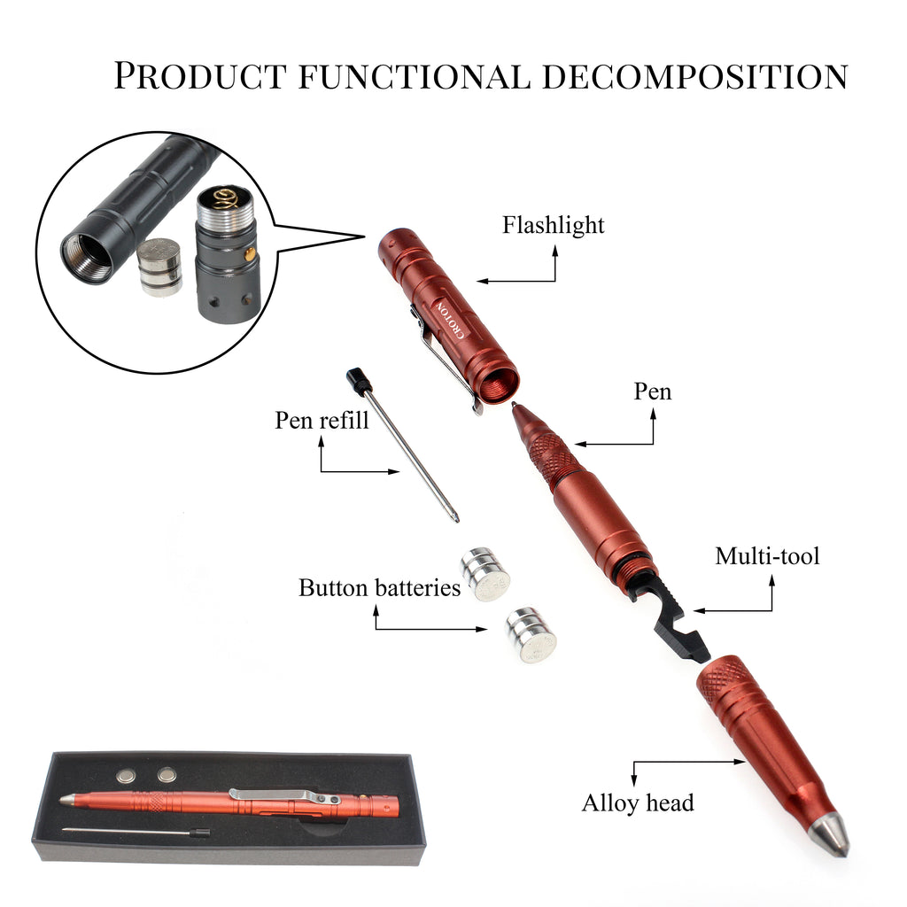 Stainless Steel Ball Pen with LED Light and Tungsten Head.