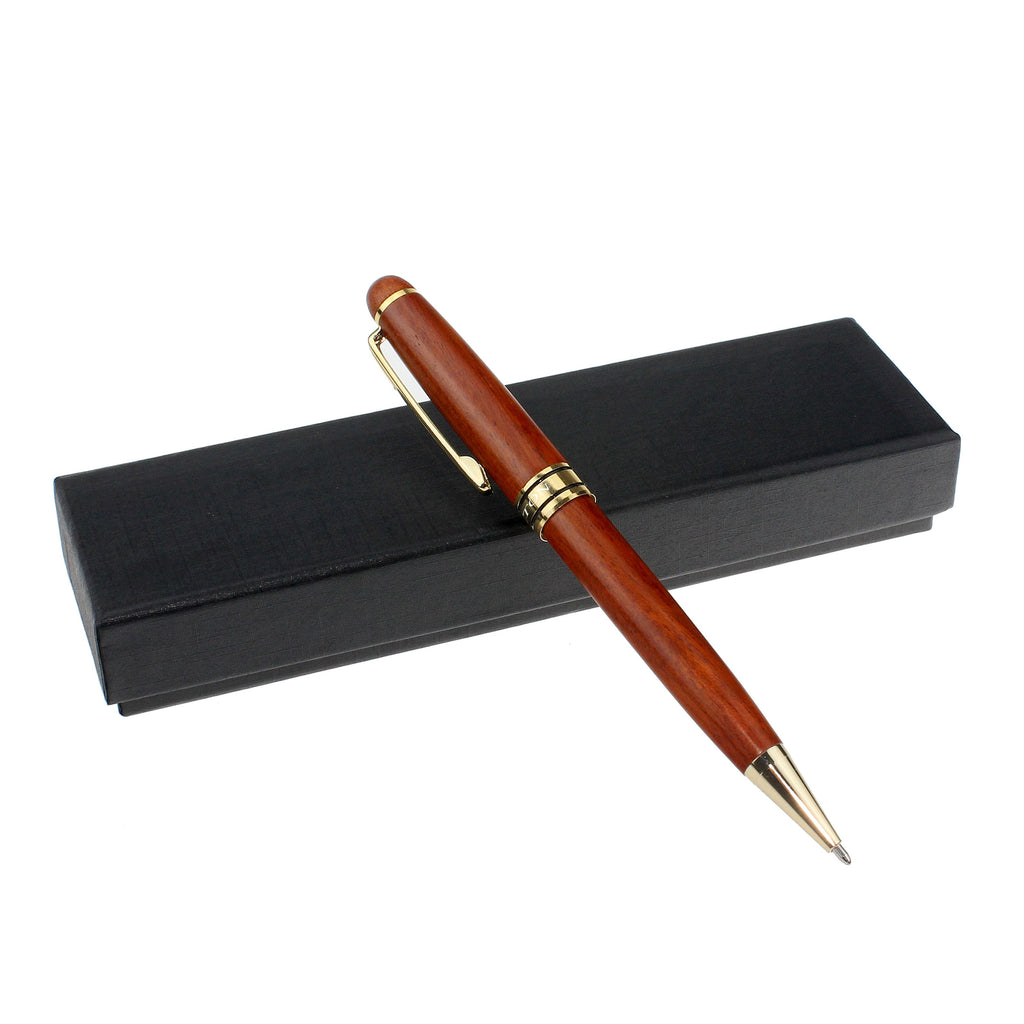 Brass Ball Pen with Red Wood Tubes and Goldtone Accents - CROTON GROUP