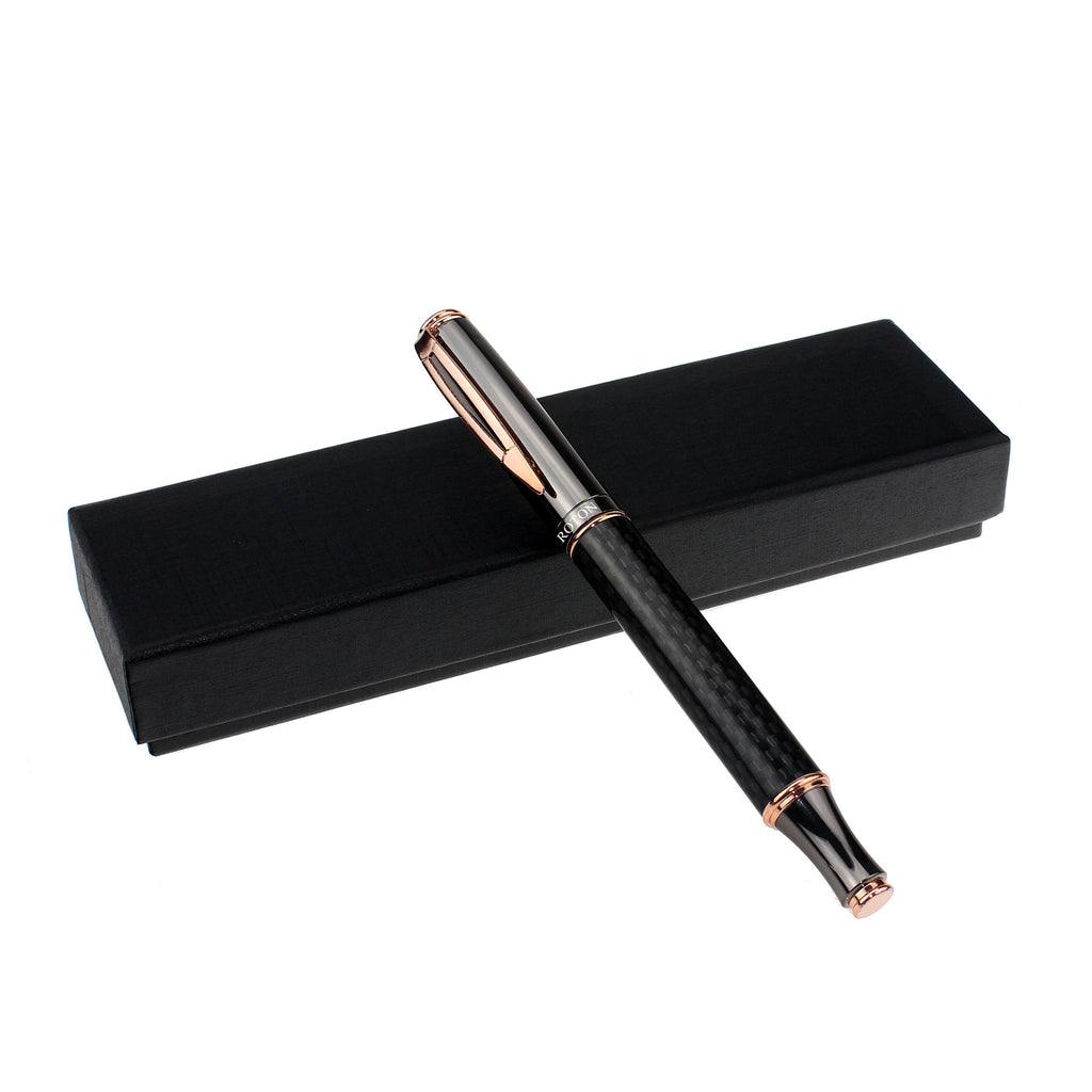 Black Ballpen with Rosegold Clip and Accents - CROTON GROUP