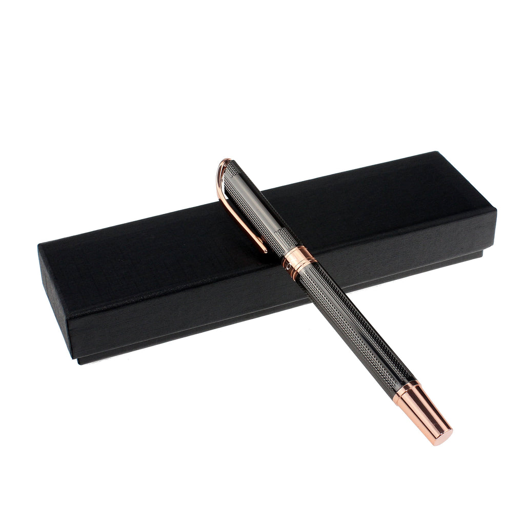 Brass Roller Pen with Carved Lines and Goldtone Accents - CROTON GROUP
