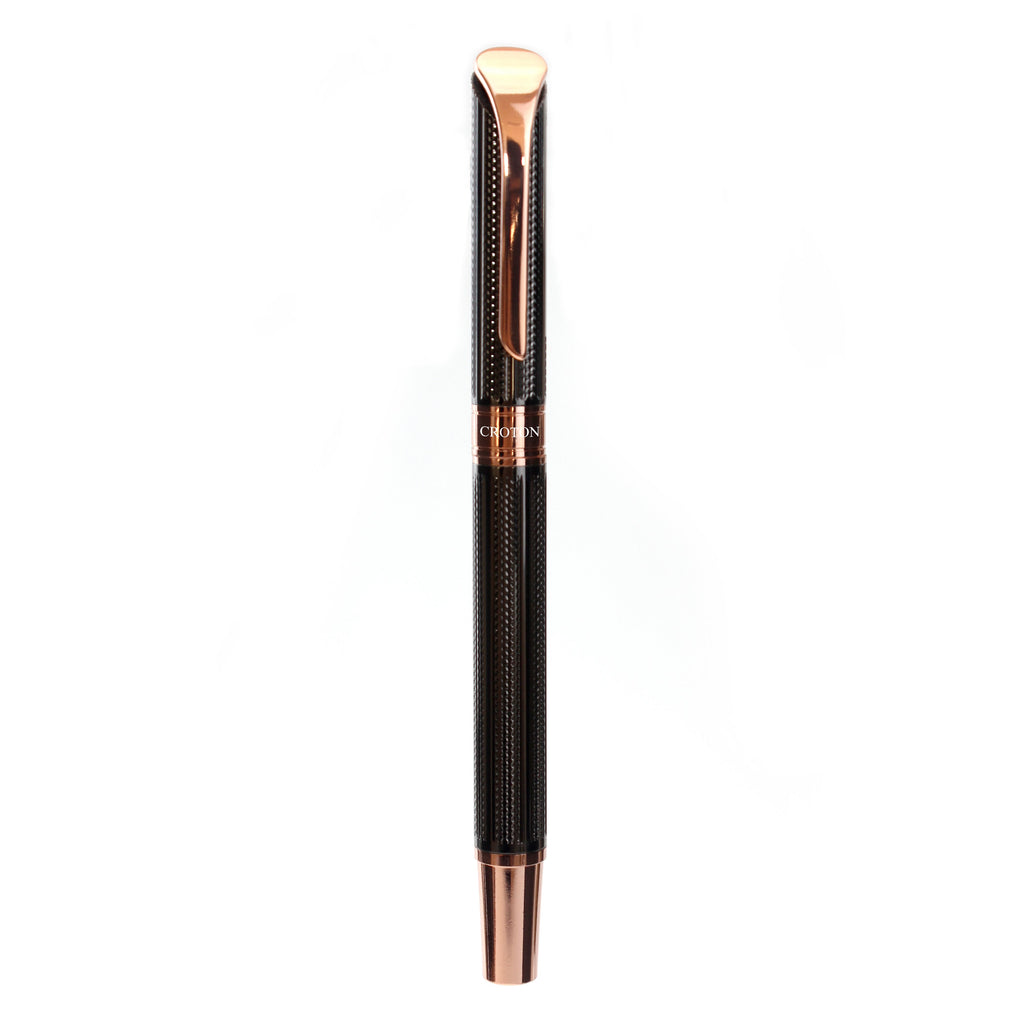Brass Roller Pen with Carved Lines and Goldtone Accents