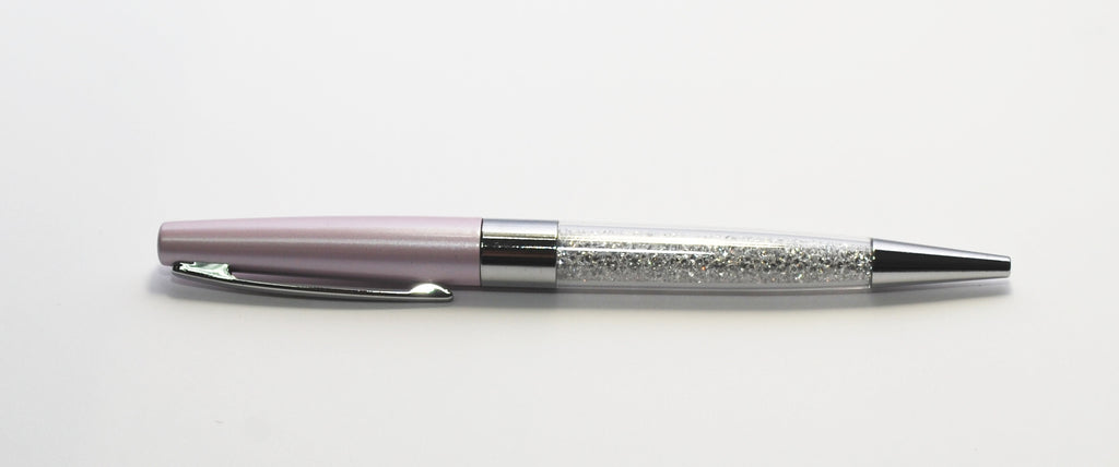 Pink Ballpen with White Crystals