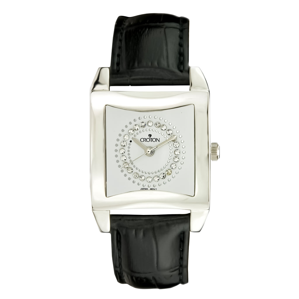 Ladies All Stainless Steel Square Dial Quartz Watch with Leather Strap