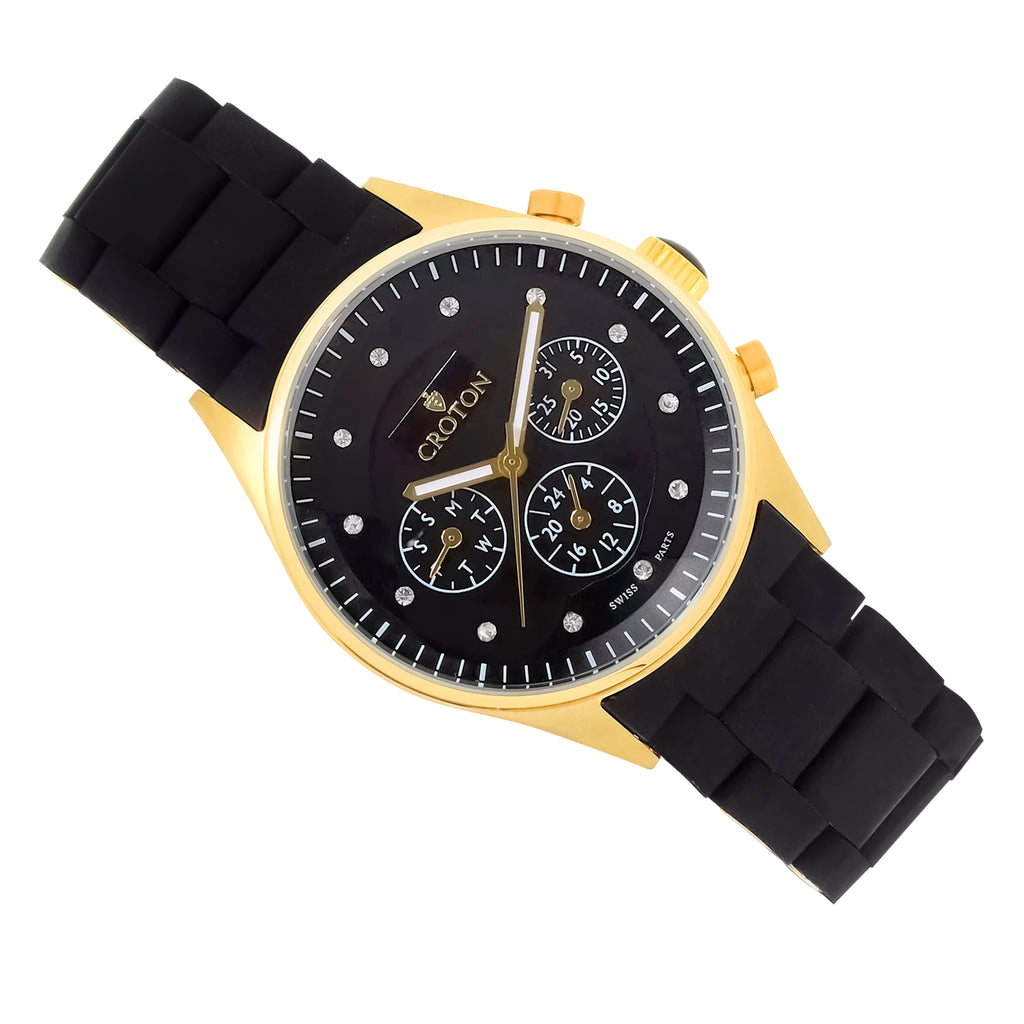 Ladies Goldtone Multi-Function Watch with Black Dial & Black Silicone Strap