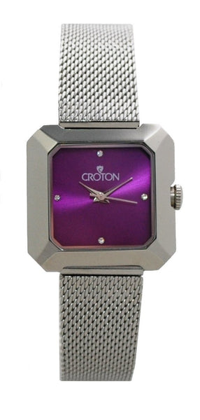 Ladies All Stainless Steel Silvertone Mesh Bracelet Watch with Purple Dial
