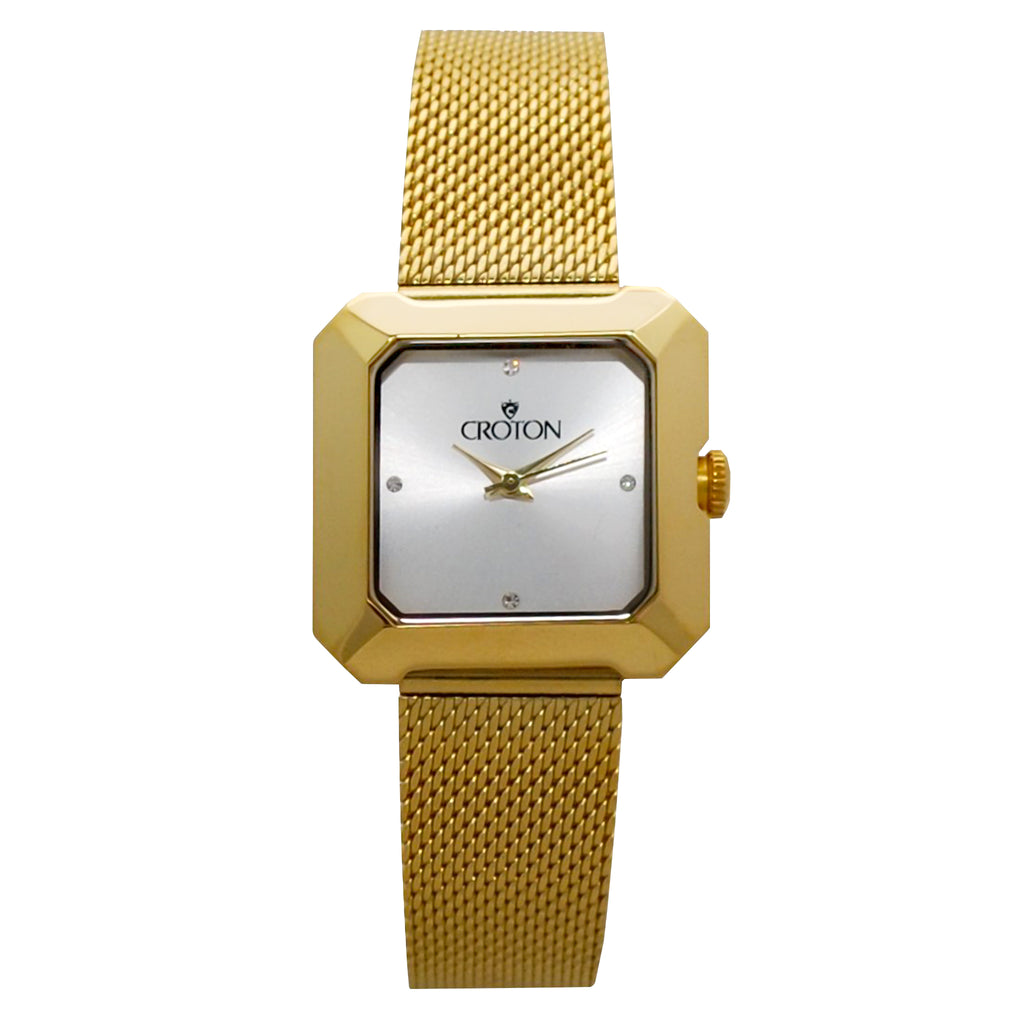 Ladies All Stainless Steel Goldtone Mesh Bracelet Watch with Silver Dial