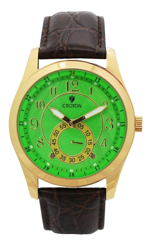 Men's Swiss Parts Dress Watch with Green Dial and Leather Strap