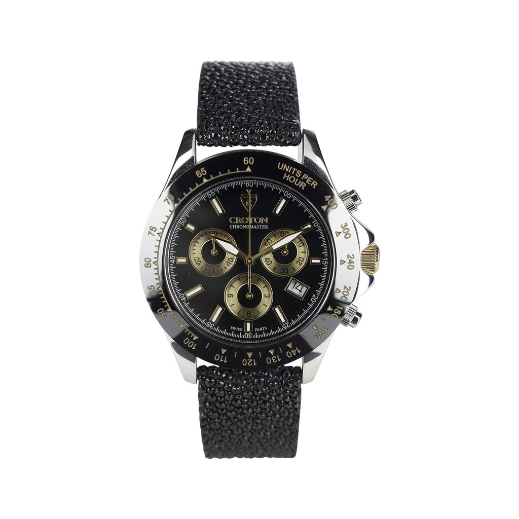 Limited Edition Men's Sterling Silver Black Dial Chronograph with Stingray Strap - CROTON GROUP