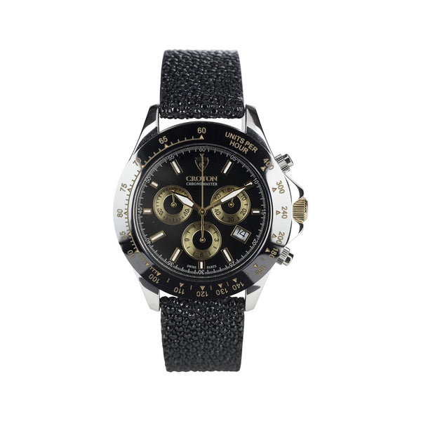 Limited Edition Men's Sterling Silver Black Dial Chronograph with Stingray Strap