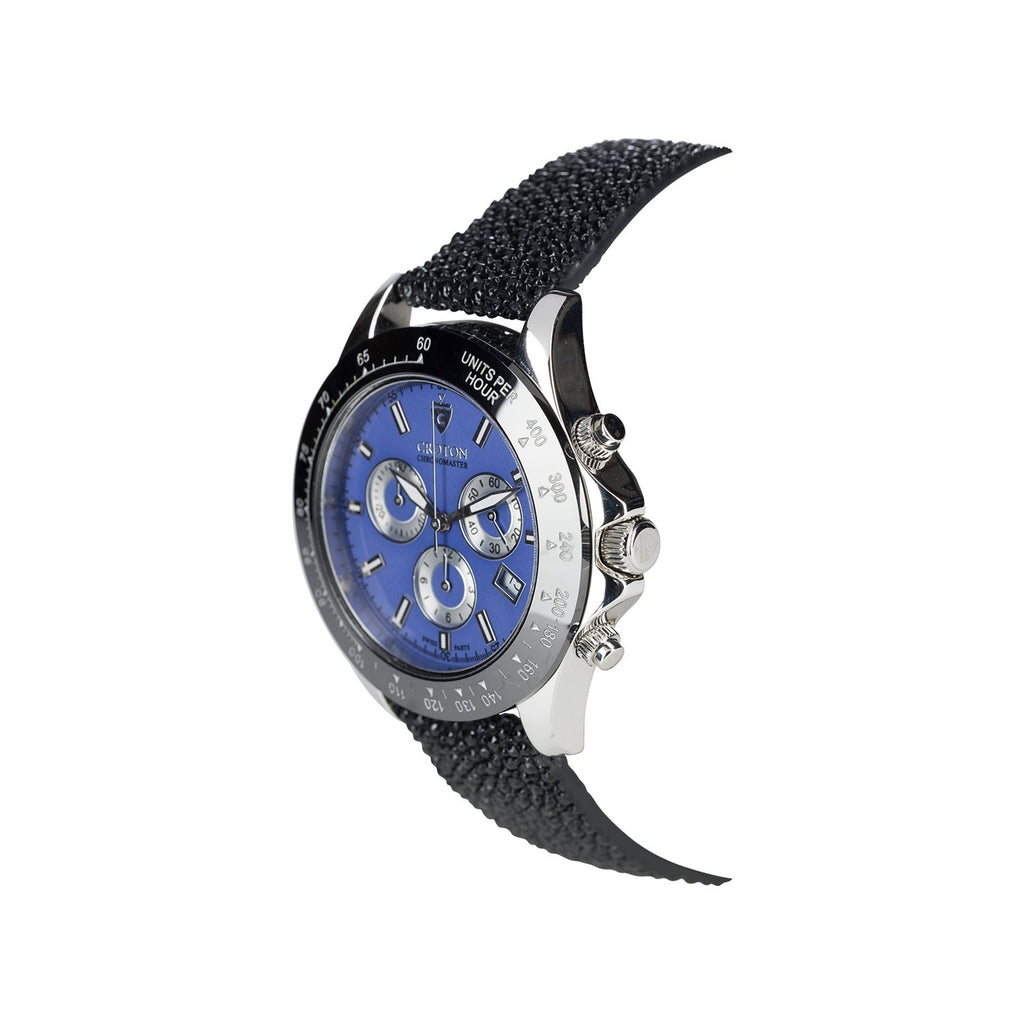 Limited Edition Men's Sterling Silver Blue Dial Chronograph with Stingray Strap - CROTON GROUP
