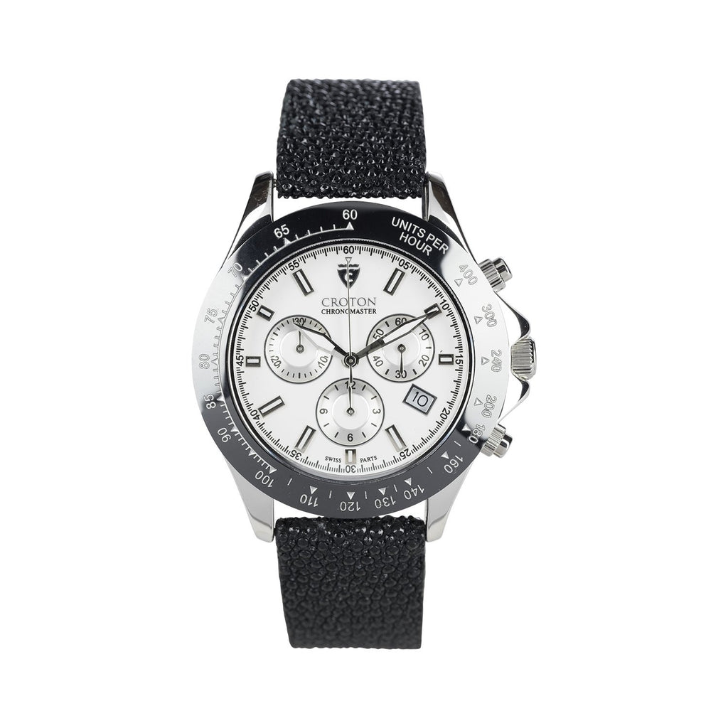 Limited Edition Men's Sterling Silver White Dial Chronograph with Stingray Strap - CROTON GROUP