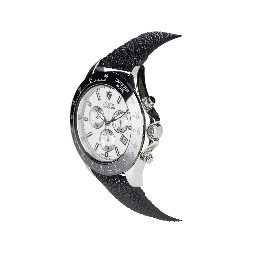 Limited Edition Men's Sterling Silver White Dial Chronograph with Stingray Strap