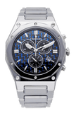 Men's Swiss Parts Tungsten Chronograph Watch with Blue Electro Carbon Fibre Dial - CROTON GROUP