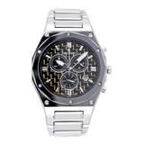 Men's Swiss Parts Tungsten Chronograph Watch with Gold Electro Carbon Fibre Dial - CROTON GROUP