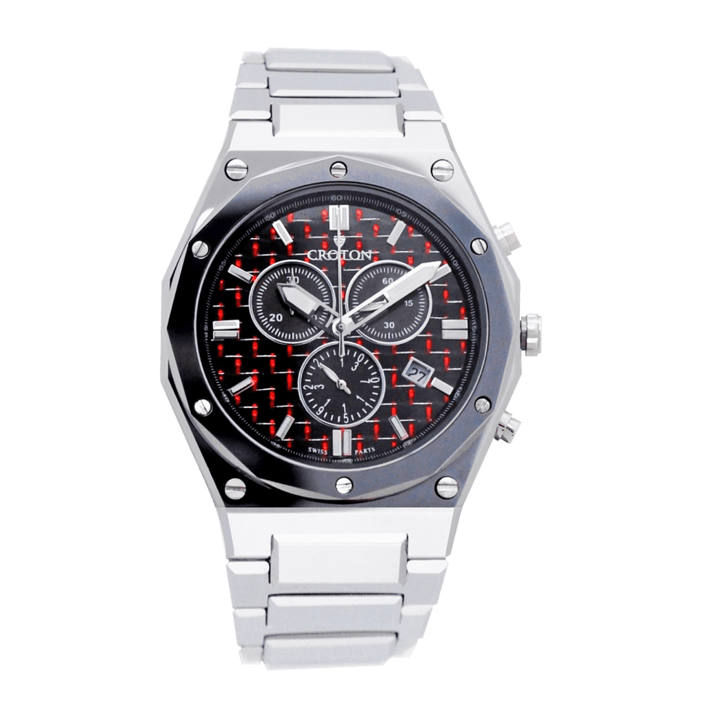 Men's Swiss Parts Tungsten Chronograph Watch with Red Electro Carbon Fibre Dial - CROTON GROUP