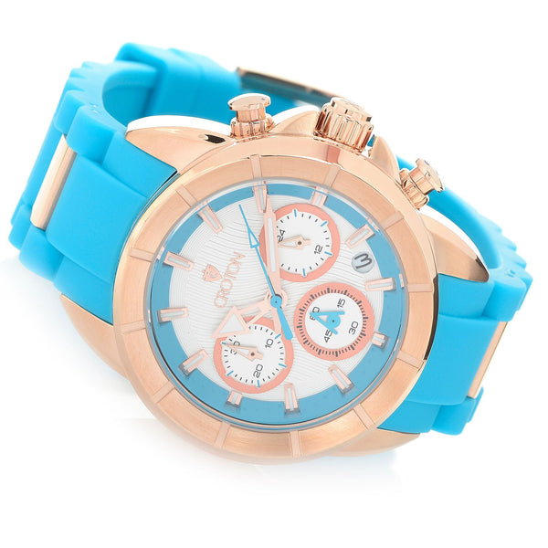 Ladies Rosegold case Chronomaster with Light Blue Silicon Strap