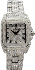 Unisex Silvertone Square Pave Dial Watch with Full Crystal Bracelet
