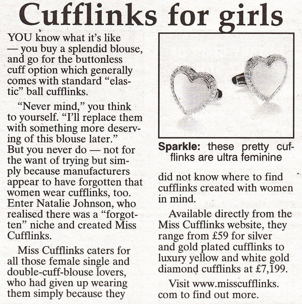 Henley Standard, Friday 6th December 2013. Christmas Time. Cufflinks for girls ♥