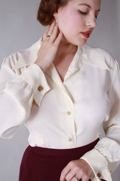 Vintage 1940s Rayon Blouse with French Cuffs