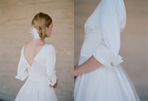 Lois, the silk wedding gown and french cuffs